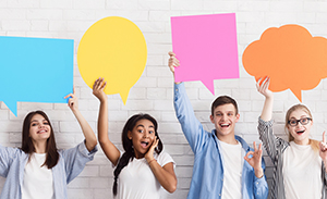 students with speech bubbles